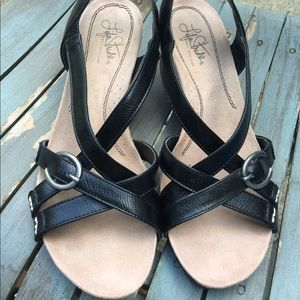 Women's Life Stride Black Wedge Sandals Size 8.5M